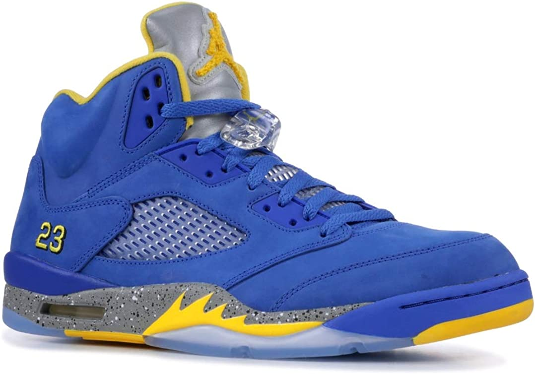 Amazon Com Nike Air Jordan 5 Laney Cd2720 400 Blue Yellow Basketball