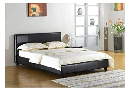 black 4ft small double faux leather bed frame - Leather Bed