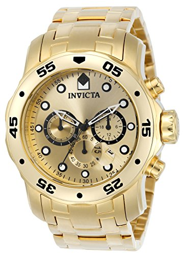 Invicta Men's 0074 pro Diver Analog Japanese Quartz 18k Gold-Plated Stainless Steel Watch (Invicta 53mm Watch)