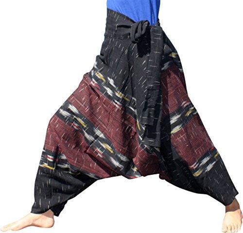RaanPahMuangブランドChomtongパンツSide Tie幾何パターン