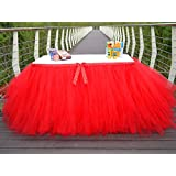 Table Skirt Red Tutu Table Cover for Birthday Wedding Party Decoration Come with 5pcs Adhesive Velcro