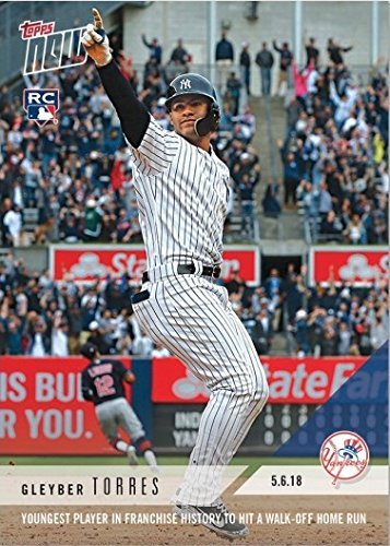 - 2018 Topps Now Baseball #180 Gleyber Torres Rookie Card - Youngest in Yankees History to Hit a Walk-Off Home Run - Only 4,766 made!