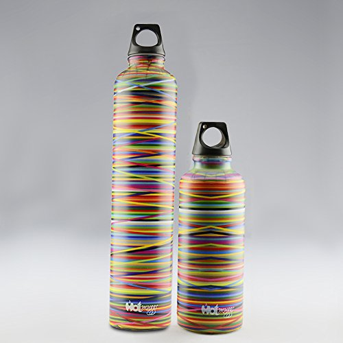 Hot Muggs Colors Large(640 ml) & Small(380 ml) Stainless Steel Bottle,2Pieces