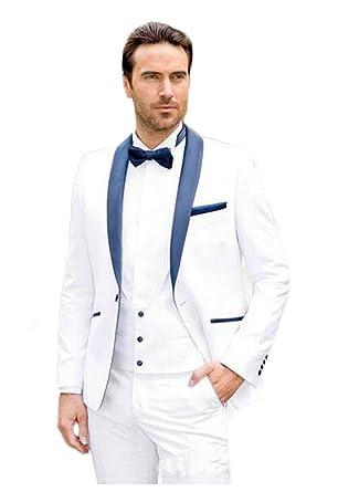 AK Beauty Shawl Lapel White Wedding Suit for Men 3 Pieces One Button ...