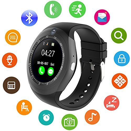 Smartwatch, Bluetooth Smart Watch Phone with Camera Pedometer SIM Card Slot for Android Sony Huawei LG and iOS (Partial Functions) Men Women Kids (Black)
