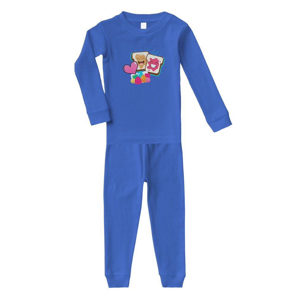 2be945415 Amazon.com: Peanut Butter and Jelly Toasts in Love #2 Cotton Long Sleeve  Crewneck Unisex Infant Sleepwear Pajama 2 Pcs Set Top and Pant - Royal  Blue, ...