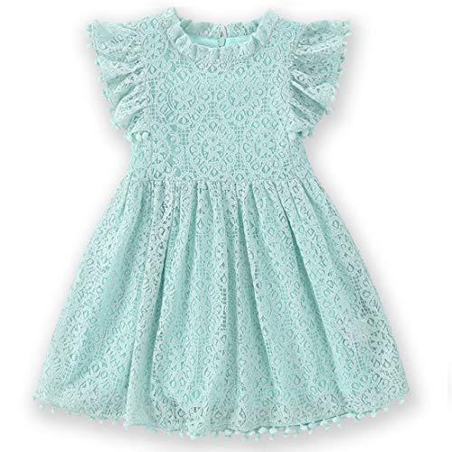 Niyage Toddler Girls Elegant Lace Pom Pom Flutter Sleeve Party Princess Dress Light Green 110 ()