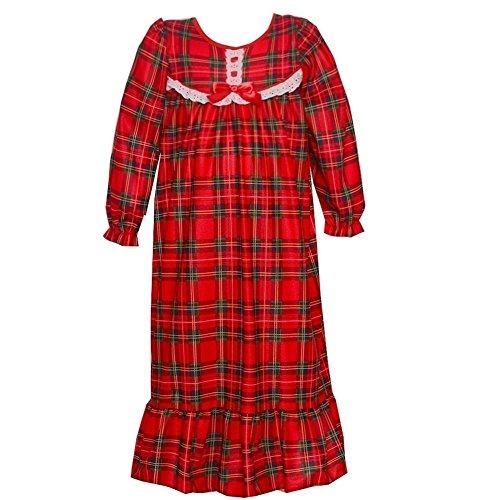 Laura Dare Girls 4-6x Red Green Plaid Eyelet Trim Long Sleeve Nightgown, 6 ()