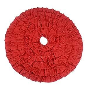 Rojo lino volantes–alfombrilla para base de árbol de Navidad falda para fiesta de Navidad redondo decoración