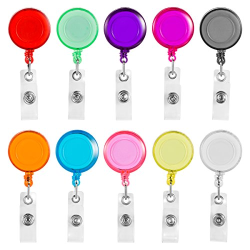 Key Id Badge Belt Clip (Clip on Retractable Badge Reel with Belt Clip for ID Cards Badge Key Keychain Holders,10 Pack with Different Colors by NATUREBELLE)