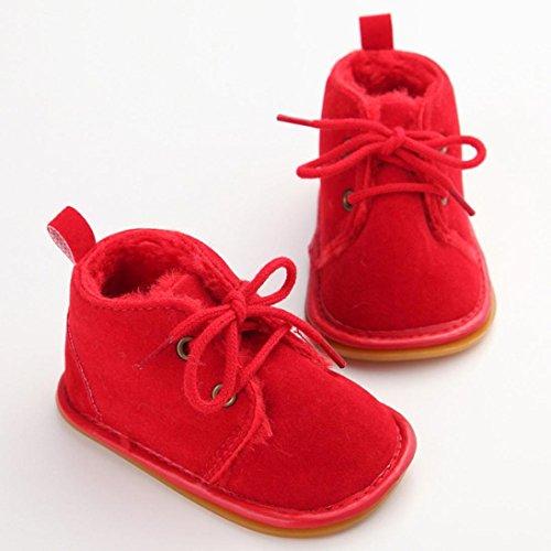 Ouneed® Krabbelschuhe , 0-18 Monate Baby Kleinkind Säuglings Schnee Stiefel Schuhe Gummisohle Prewalker Krippe Schuhe Rot