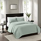 Madison Park Quebec Twin/Twin Xl Size Quilt Bedding Set - Seafoam, Damask – 2 Piece Bedding Quilt Coverlets – Ultra Soft Microfiber Bed Quilts Quilted Coverlet