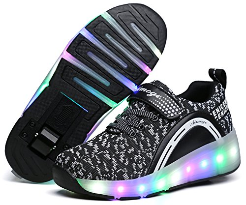 Price comparison product image Ausom Boys Girls Glint Light Up Single Wheel Double Wheels Kids LED Roller Shoes Skates Sneakers