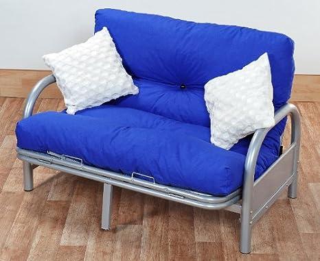 Tremendous Ex Argos Stock Mexico Double 4Ft6 Tri Fold Silver Futon Sofa Bed Frame With Reflex Foam Flake Futon Mattress Dark Blue Ncnpc Chair Design For Home Ncnpcorg