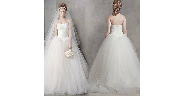 AN Vestido de boda clásico simple sueño princesa moda vestido de novia: Amazon.es: Deportes y aire libre