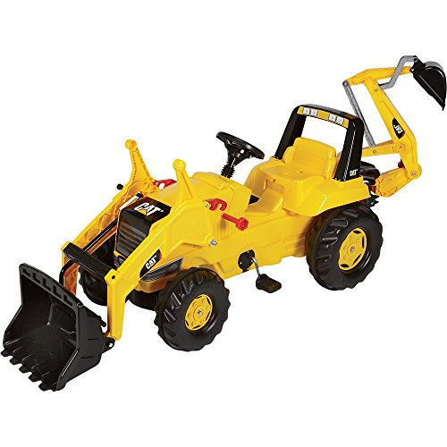 rolly toys CAT Construction Pedal Tractor: Backhoe Loader (Front Loader and Excavator/Digger), Youth Ages 3+ (Front Loader Backhoe)