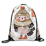 FYW Little Cute Bullfinch With Winter Hat And Scarf Watercolor Hand Drawn Kids Illustration Christmas Drawstring Bags Walk Backpack For Teens College