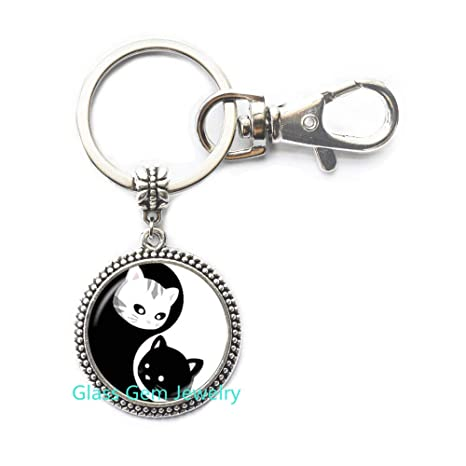 Yin Yang Llavero de gato negro y blanco con 8 diagramas ...