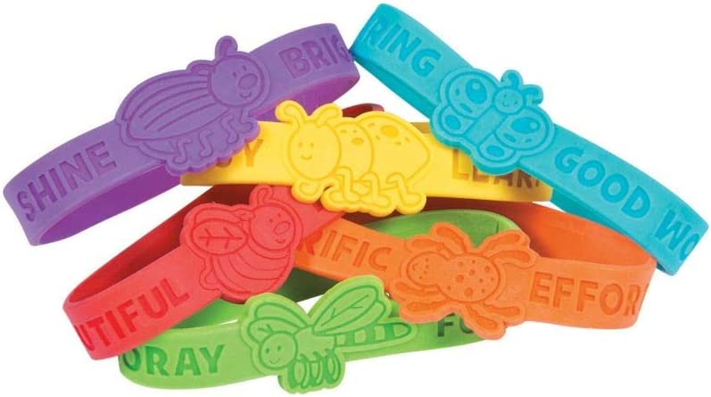 Educational and Learning Activities for Kids Fun Express Bug Silicone Bracelet 24 Pieces