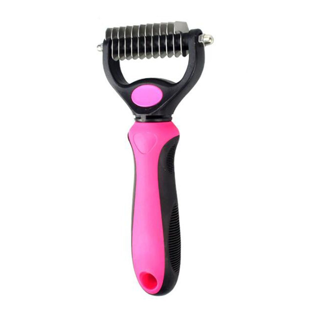 YFDZONE Dog Dematting Comb Cat And Dog Grooming Comb With Safe Rounded Blades Undercoat Rake Removes Mats, Tangles And Knots Pet Grooming Tool With Comfort Grip Handle (Small)
