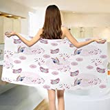 Butterfly Bath towel Butterflies and Branches Romantic Spring Retro Faith Optimism Change Fly Theme Cotton Beach Towel Pink White (55''x28'')