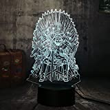 Cool Game of Thrones Iron Throne 3D LED Night Light A Song of Ice and Fire House Stark House Targaryen Fans Home Party Decoration Desk Lamp Birthday Christmas Gift(Game of Thrones)