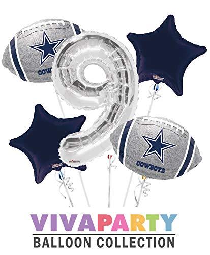 Dallas Cowboy Balloon Bouquet 5 pc, 9th Birthday, Silver Number 9 Jumbo Balloon | Viva Party Balloon Collection -
