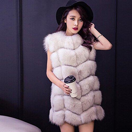 Transer chaud Manteau Faux hiver Manteaux Gilet de manteaux renard Slim Luxe Femme Vest Beige fourrure Womens rwr6TI