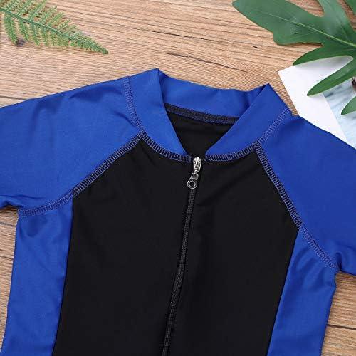 zdhoor Kids Boys Girls One-Piece Thermal Swimsuit Shorty Wetsuit Short Sleeves Zippered Rash Guard Bathing Suit