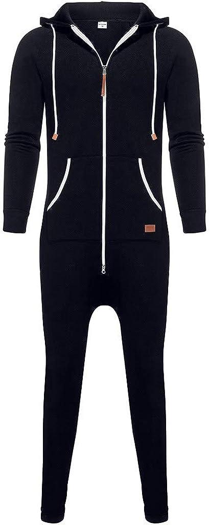 Sumen Men Athletic Suit Casual Zip Up Hoodie Jumpsuit Onesie One Piece Pajamas