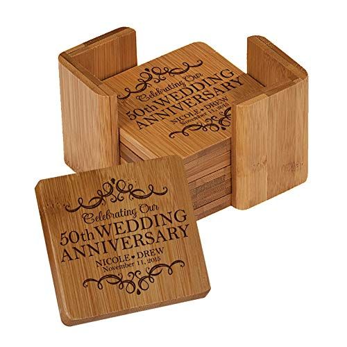 LifeSong Milestones Personalized Anniversary Solid Square Bamboo Coaster 6 Piece Set for Drinks with Holder - Wedding Keepsake Gift for Parents Husband Wife Him Her 3.75