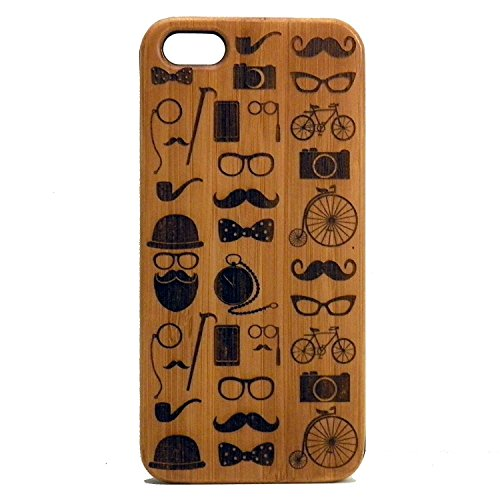 Hipster Icons iPhone 7 Case/Cover by iMakeTheCase   Mustache Beard Glasses Bowtie Tophat Pipe Camera Bicycle Monocle   Bamboo Wood - Hipster Subculture