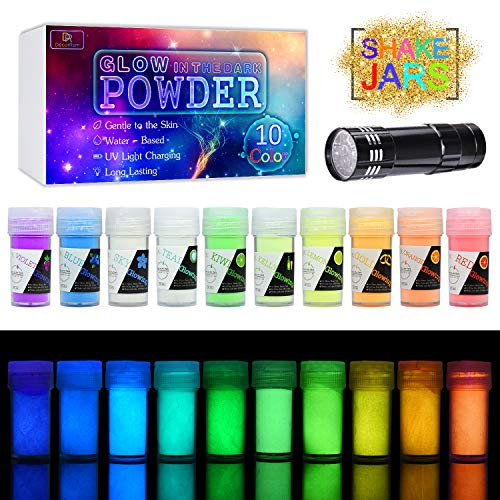 (10 Color Glow In The Dark Pigment Powder with UV Lamp - Epoxy Resin Luminous Powder for Slime Kit,Skin Safe Long Lasting Self Glowing Dye for DIY Nail Art,Acrylic Paint,Fine Art, 0.7oz Each(Total 7oz))