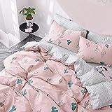 MAXYOYO 100% Cotton Cactus Pattern Bedding Set Full Size,Boy Girl Kid Duvet Covet Set, 4 Pieces,1 Duvet Cover+ 1 Flat Sheet+ 2 Pillow Shams