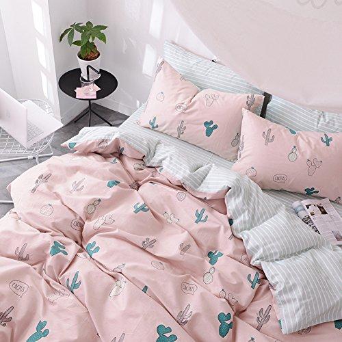MAXYOYO 100% Cotton Cactus Pattern Bedding Set Queen Size,Boy Girl Kid Duvet Covet Set, 4 Pieces,1 Duvet Cover+ 1 Flat Sheet+ 2 Pillow Shams (Cute Bed Sheets)