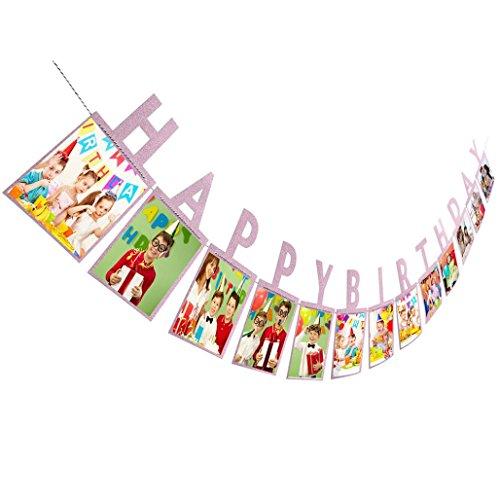 Happy Birthday Paper Photo Props Frame Wall Hanging Picture Album Gifts 14X23cm Photography Accessories (Gold), Keychain Picture Frames,photo hanging display ()