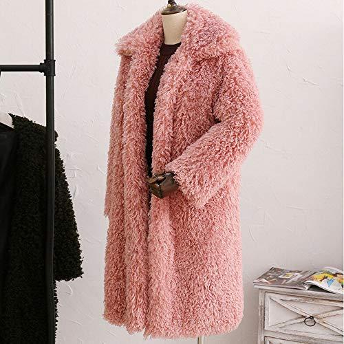 Amuster Manches Coton Rose En Couleur Unie Longues De La Manteau Col Collier Mode Fourrure À Outercoat D'hivermanteau O6wrOt4qa