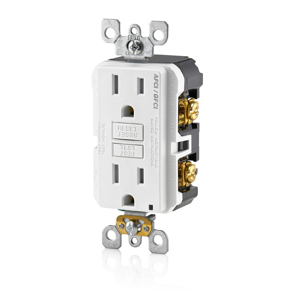 Afci Circuit Schematics Find A Guide With Wiring Diagram Images Leviton Agtr1 W Smartlockpro Dual Function Gfci Receptacle 15 Amp 125v White