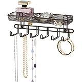 mDesign presentoir bijoux pratique ? avec 6 crochets et 2 compartiments ? rangement bijoux pour lunettes, bagues, bracelets, colliers et autres ? support bijoux à accrocher ? bronze