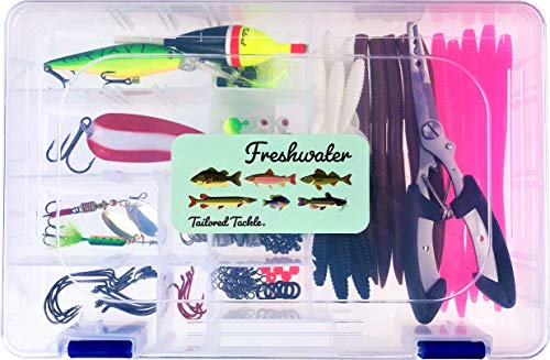 Tailored Tackle Freshwater Fishing Kit 118 pc Tackle Box with Tackle Included Pliers Lures Spinners Spoon Bait Worms Jigs Hooks Starter Equipment Gifts & Gear to Fish for Bass Walleye Trout