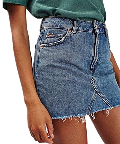 Shele Women's Casual Fashion High Waist Denim Short Skirt