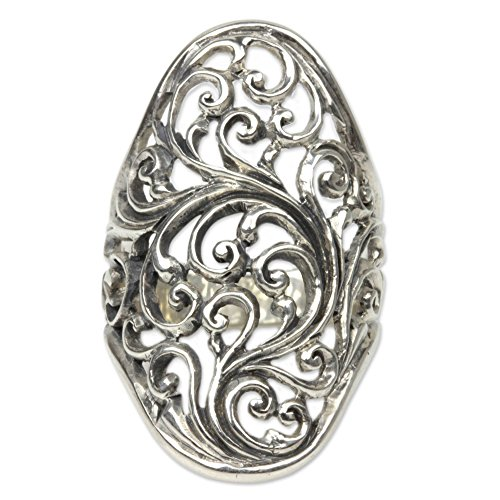 NOVICA Ornate .925 Sterling Silver Handcrafted Cocktail Ring, Sukawati Fern' (Ornate Floral Ring)