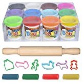 ArtCreativity Dough Non-Toxic Creativity Play Set with 12 Vibrant Colors Clay, 6-Shape Cutters and 7.5-Inch Rolling Pin