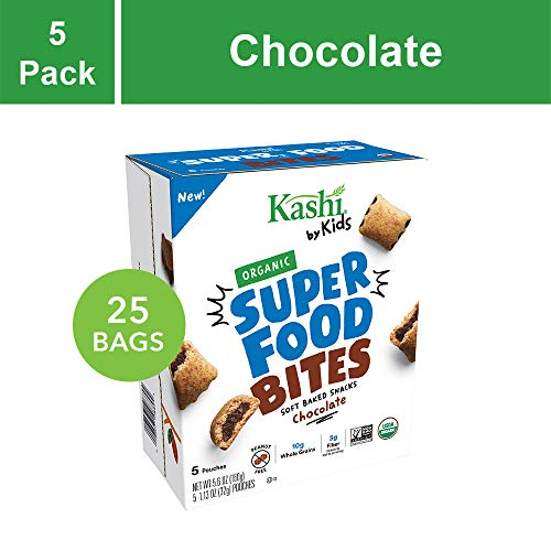 Kashi by Kids Organic Super Food Soft Baked Chocolate Filled Bites, Certified Organic, Non-GMO, Fair Trade Cocoa, Peanut Free, Safe School Claim, 5 Pouches per Box(Pack of 5) ()