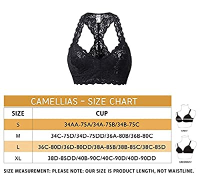 Camellias Women's Sexy Lace Racerback Bralette Bustier Breathable Crop Top Bra