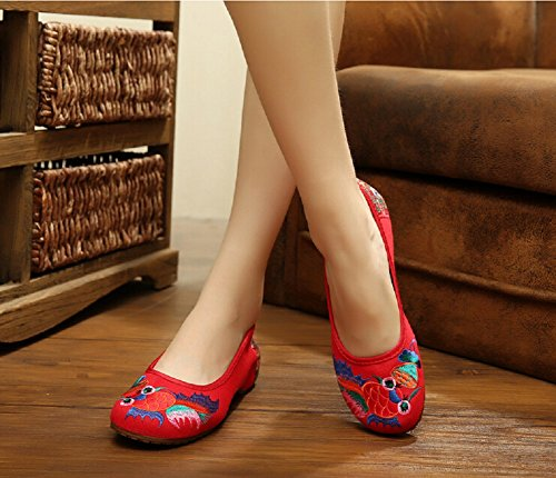 Lazutom Women Vintage Chinese Style Casual Embroidery Shoes Flats Slip On Shoes Po2pqlDab