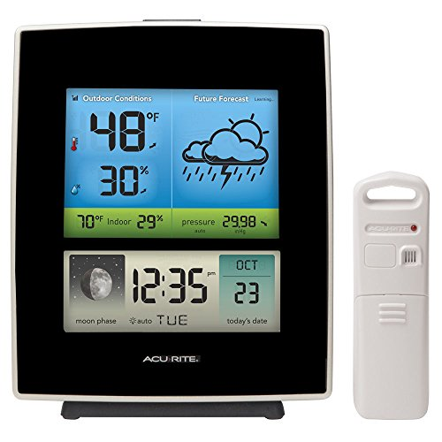 Moon Weather Station - AcuRite 02030RM Weather Station with Forecast/Temperature/Humidity/Moon Phase, Black
