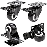"2"" Coocheer Swivel Caster Wheels Rubber Base with Top Plate & Bearing Heavy Duty with Brake Pack of 4 Black"