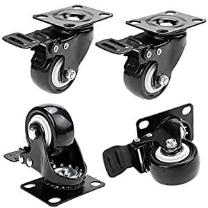 """2"""" Coocheer Swivel Caster Wheels Rubber Base with Top Plate & Bearing Heavy Duty Pack of 4 (new)"""