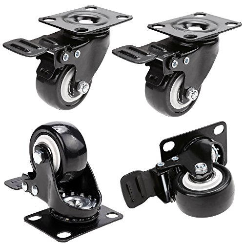 2'' Coocheer Swivel Caster Wheels Rubber Base with Top Plate & Bearing Heavy Duty Pack of 4 (new) by COOCHEER